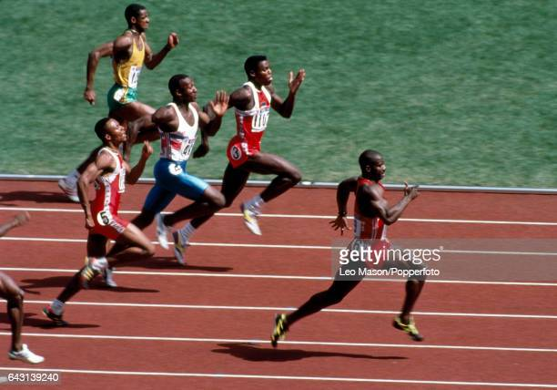 Ben Johnson of Canada wins the men's 100 metres event in world record time during the Summer Olympic Games in Seoul South Korea on 24th September...