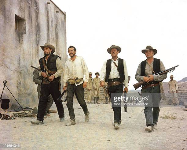Ben Johnson US actor Warren Oates US actor William Holden US actor Ernest Borgnine US actor in a publicity still issued for the film 'The Wild Bunch'...