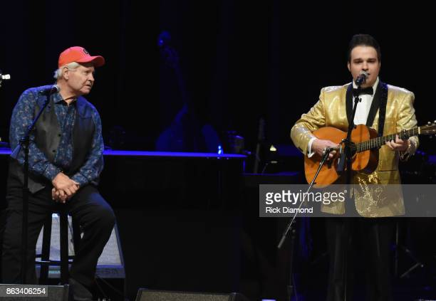 Ben Jones aka Cooter of TV's Dukes of Hazzard joins Nathan Stanley onstage during Dr Ralph Stanley Forever A Special Tribute Concert at Grand Ole...
