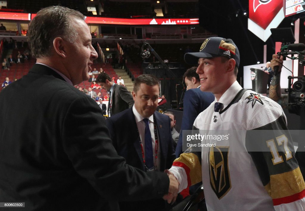Ben Jones greets the team after being selected 189th overall by the Vegas Golden Knights during the 2017 NHL Draft at United Center on June 24, 2017 in Chicago, Illinois.