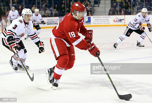 Ben Jones of the Niagara IceDogs chases Blake Speers of the Sault Ste Marie Greyhounds during an OHL game at the Meridian Centre on November 26 2015...