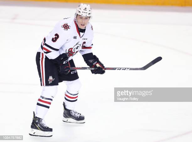 Ben Jones of the Niagara IceDogs skates during an OHL game against the Barrie Colts at Meridian Centre on October 11 2018 in St Catharines Canada