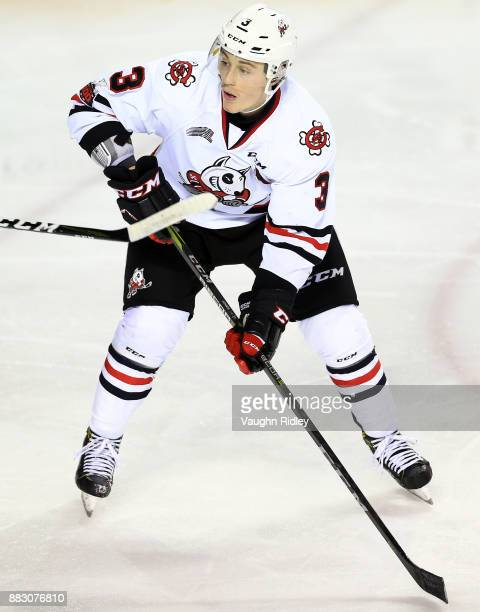 Ben Jones of the Niagara IceDogs skates during an OHL game against the Mississauga Steelheads at the Meridian Centre on November 25 2017 in St...
