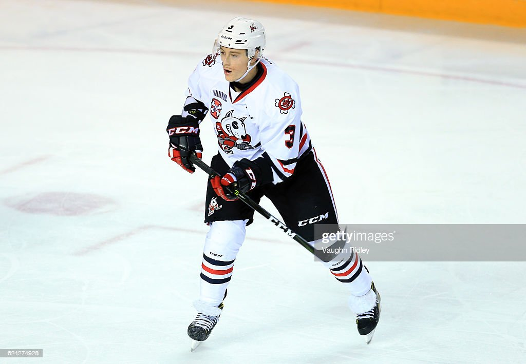 Ben Jones #3 of the Niagara IceDogs skates during the first period of an OHL game against the Ottawa 67's at the Meridian Centre on November 18, 2016 in St Catharines, Canada.