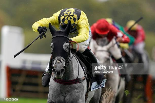 Ben Jones riding Gumball clear the last to win The Sodexo Handicap Hurdle at Ascot Racecourse on November 02, 2019 in Ascot, England.