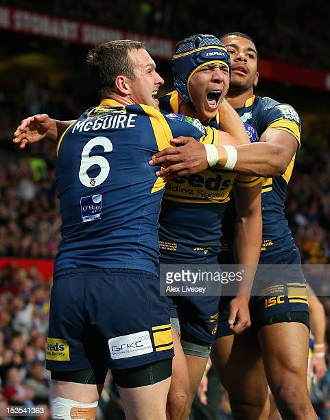 Ben Jones-Bishop of Leeds Rhinos celebrates with his team-mates after scoring his team's second try during the Stobart Super League Grand Final...