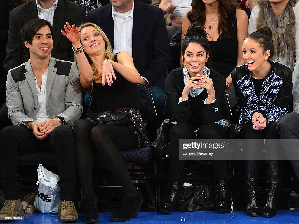 Ben Jorgensen, Katrina Bowden, Vanessa Hudgens and guest attend the Dallas Mavericks vs New York Knicks game at Madison Square Garden on November 9, 2012 in New York City.