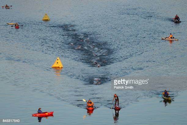 Ben Kanute of the USA leads the field as they compete in the swim portion of the IRONMAN 703 Men's World Championship on September 10 2017 in...