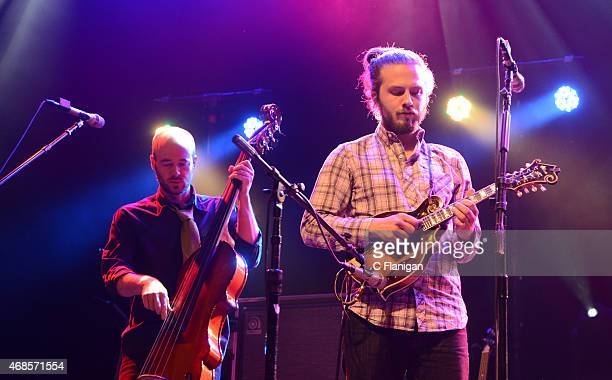 Ben Kaufman and Jake Jolliff of The Yonder Mountain String Band perform at The Fox Theater on April 3 2015 in Oakland California