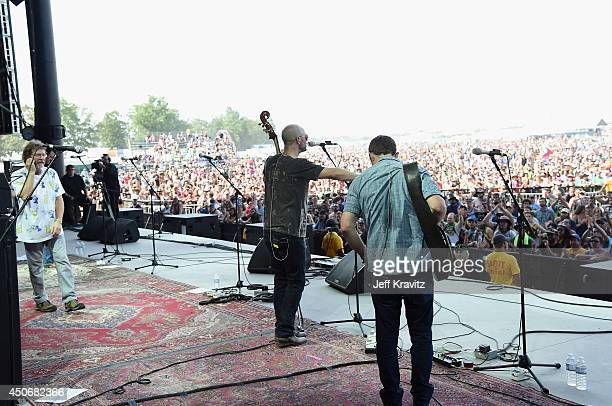 Ben Kaufmann and Dave Johnston of Yonder Mountain String Band perform with Sam Bush onstage at What Stage during day 4 of the 2014 Bonnaroo Arts And...