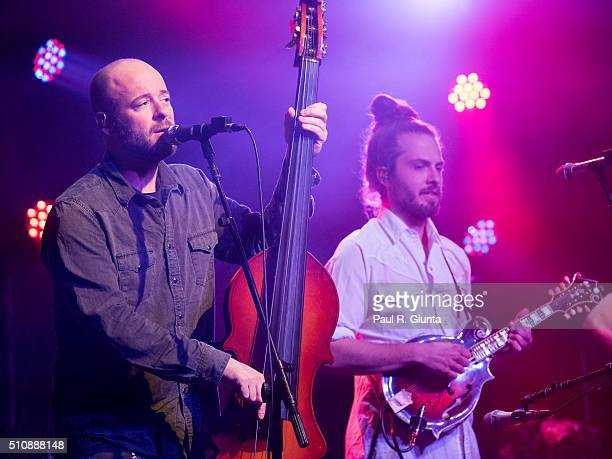 Ben Kaufmann and Jake Joliff of Yonder Mountain String Band perform on stage at The Variety Playhouse on February 13 2016 in Atlanta Georgia