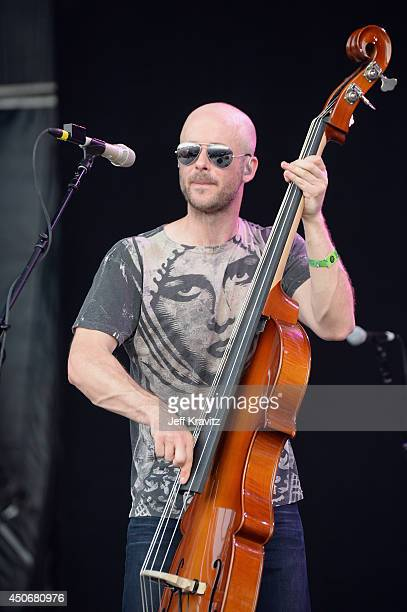Ben Kaufmann of Yonder Mountain String Band performs onstage at What Stage during day 4 of the 2014 Bonnaroo Arts And Music Festival on June 15 2014...
