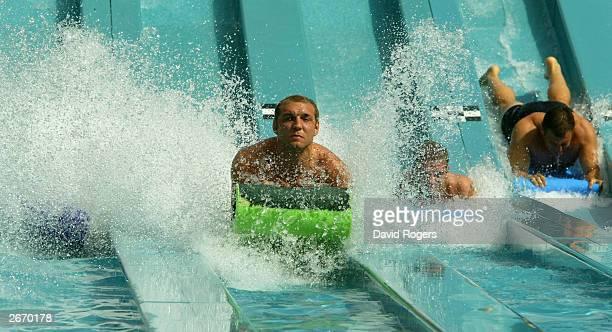 Ben Kay of England enjoys the waterslide at the Wet 'n' Wild theme park October 28 2003 the Gold Coast Australia