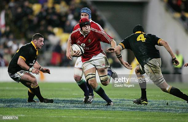 Ben Kay the Lions lock takes on Luke Andrews during the match between the British and Irish Lions and Wellington at The Westpac Stadium on June 15...