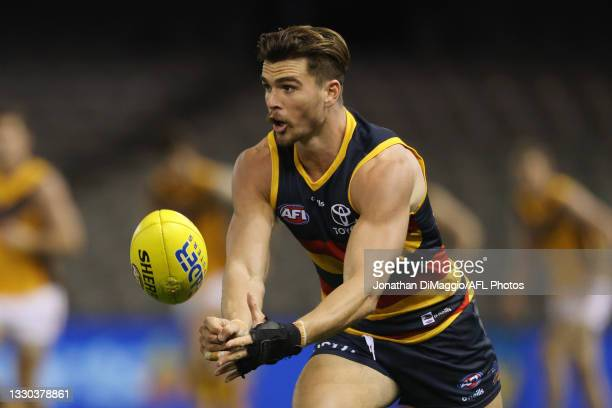 Ben Keays of the Crows in action during the round 20 AFL match between Adelaide Crows and Hawthorn Hawks at Marvel Stadium on July 24, 2021 in...
