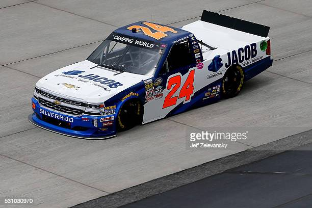 Ben Kennedy driver of the Jacob Companies Chevrolet practices for the NASCAR Camping World Truck Series at Dover International Speedway on May 12...