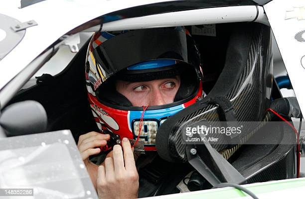 Ben Kennedy driver of the Samuel Metals/VSI Racing Toyota looks on during the NASCAR KN Pro Series East Samuel 150 on July 14 2012 at CNB Bank...