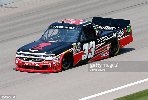 Ben Kennedy driver of the Weber Grill Chevrolet practices for the NASCAR Camping World Truck Series 16th Annual Toyota Tundra 250 on May 05 2016 in...
