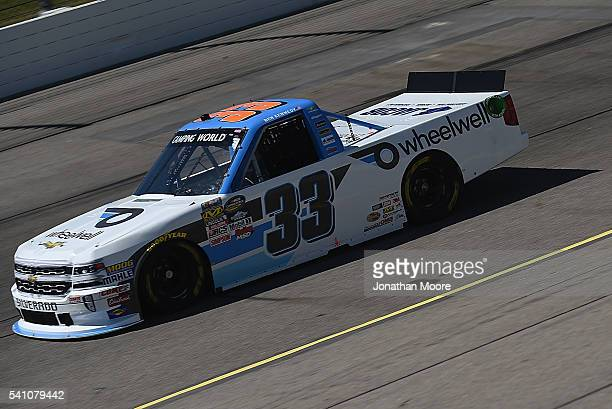 Ben Kennedy driver of the Wheelwell Chevrolet on track during practice for the NASCAR Camping World Truck Series Speediatrics 200 at Iowa Speedway on...