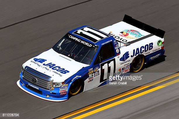 Ben Kennedy drives the JACOB Companies Toyota during practice for the NASCAR Camping World Truck Series NextEra Energy Resources 250 at Daytona...