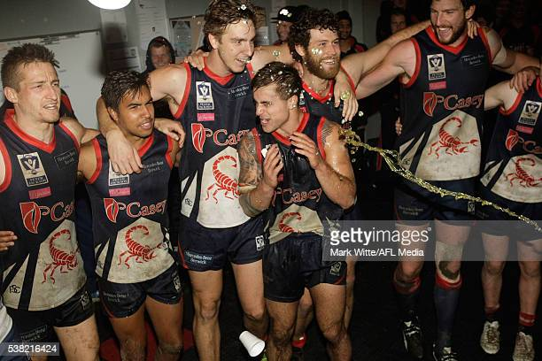 Ben Kennedy of Casey Scorpians gets a powerade shower after the win during the round nine VFL match between Casey and Port Melbourne at Casey Fields...