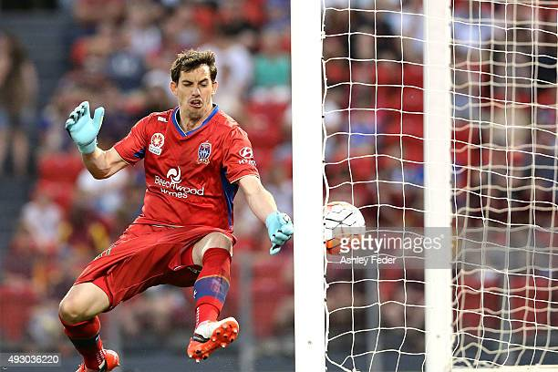 Ben Kennedy of the Jets concedes a goal during the round two ALeague match between the Newcastle Jets and Sydney FC at Hunter Stadium on October 17...