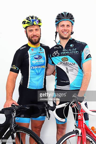 Ben Kersten and Simon Clarke pose during Below the Belt Pedalthon where teams ride for up to 4 hours to defeat 4 different cancers at Sydney...