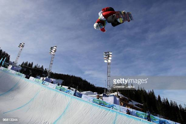 Ben Kilner of Great Britain and Northern Ireland during the Snowboard Men's Halfpipe on day six of the Vancouver 2010 Winter Olympics at Cypress...
