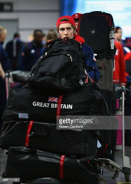 Ben Kilner of Great Britain arrives at Sochi International Airport ahead of the Sochi 2014 Winter Olympics on February 3 2014 in Sochi Russia