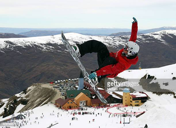 Ben Kilner of Great Britain competes in the Mens Half Pipe final during the FIS Snowboard World Cup Half Pipe at Cardrona Alpine Resort Cardrona...