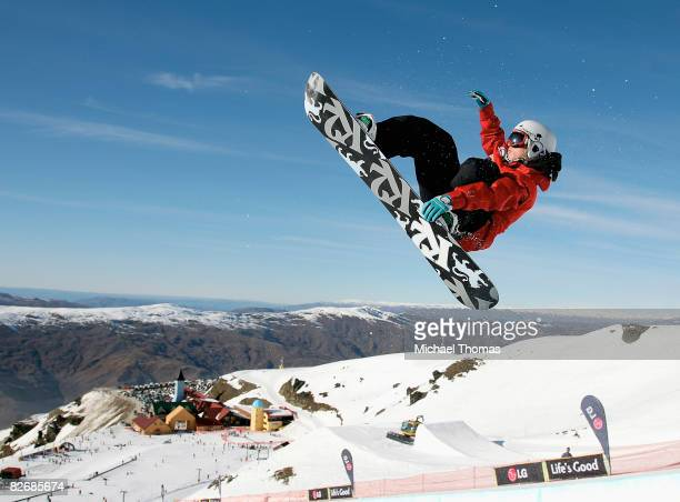 Ben Kilner of Great Britain competes in the Mens Half Pipe heats during the FIS Snowboard World Cup Half Pipe at Cardrona Alpine Resort Cardrona...