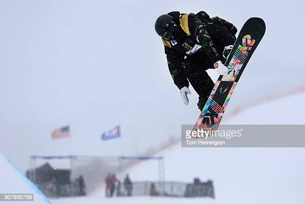 Ben Kilner of Great Britain takes a practice run in the Halfpipe during the 2016 US Snowboarding Park City Grand Prix on February 1 2016 in Park City...
