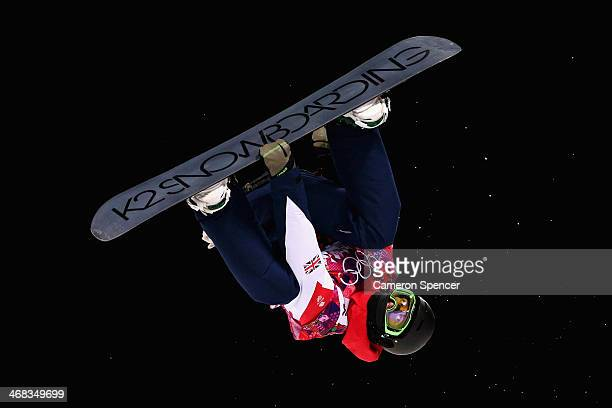 Ben Kilner of Great Britain trains during Snowboard Halfpipe practice during day 3 of the Sochi 2014 Winter Olympics at Rosa Khutor Extreme Park on...