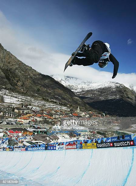 Ben Kilner of Great Britian during the Mens Half Pipe race at The Nokia Snowboard FIS World Cup on Feburary 11 2005 in Bardonecchia Italy