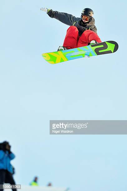 Ben Kilner of Scotland goes high during the men's qualification heat in halfpipe discipline at the World Snowboarding Championships Oslo 2012 at...