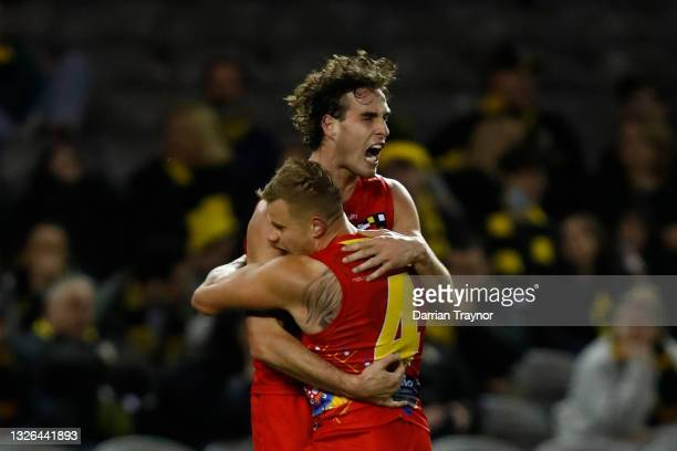 Ben King of the Suns celebrates a goal during the round 16 AFL match between the Gold Coast Suns and the Richmond Tigers at Marvel Stadium on July...