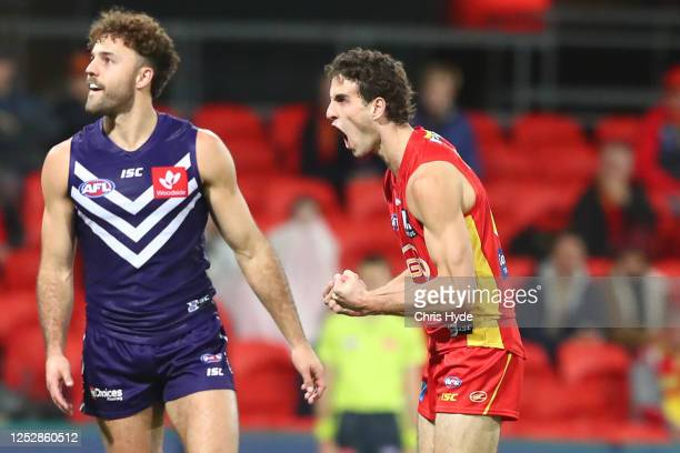 Ben King of the Suns celebrates a goal during the round 4 AFL match between the Gold Coast Suns and Fremantle Dockers at Metricon Stadium on June 27,...