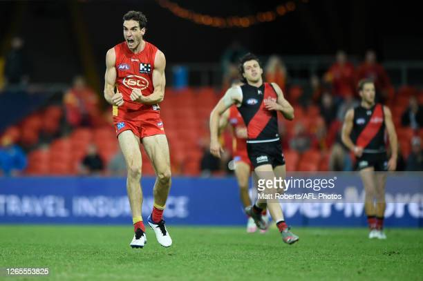 Ben King of the Suns celebrates kicking a goal during the round 11 AFL match between the Gold Coast Suns and the Essendon Bombers at Metricon Stadium...