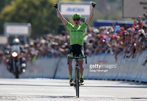 Ben King of the United States riding for Cannondale Pro Cycling celebrates as he wins stage two of the 2016 Amgen Tour of California from South...