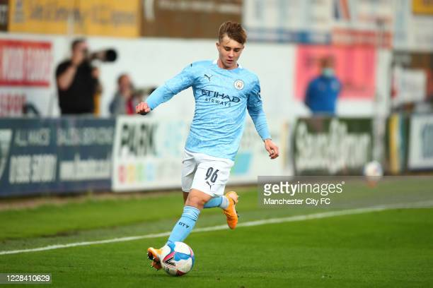 Ben Knight of Manchester City during the EFL Trophy match between Mansfield Town and Manchester City U21 at One Call Stadium on September 8, 2020 in...