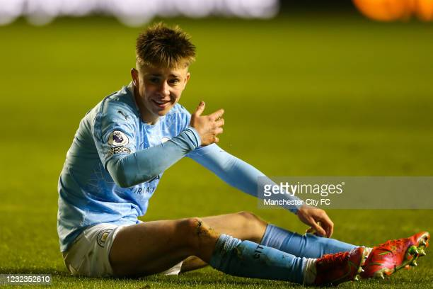 Ben Knight of Manchester City reacts during the Premier League 2 match against Manchester United at Manchester City Football Academy on April 16,...