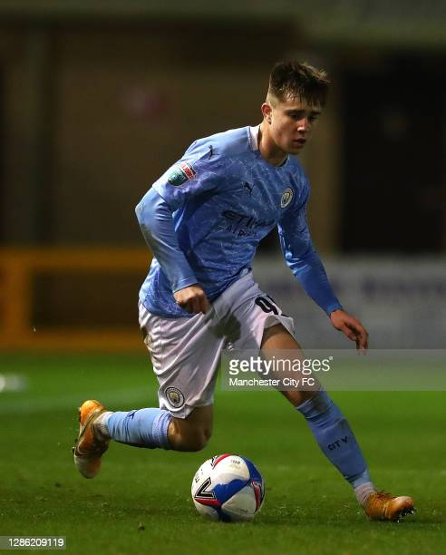 Ben Knight of Manchester City U21 in action during the EFL Trophy match between Lincoln City and Manchester City U21 at Sincil Bank Stadium on...