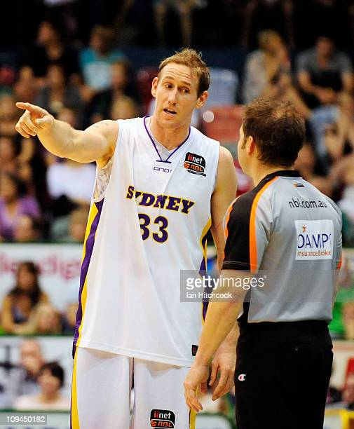 Ben Knight of the Kings talks to a referee during the round 20 NBL match between the Townsville Crocodiles and the Sydney Kings at Townsville...