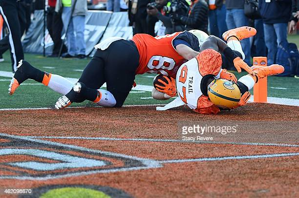 Ben Koyack of the North team scores a touchdown against Lynden Trail of the South team during the first quarter of the Reese's Senior Bowl at Ladd...