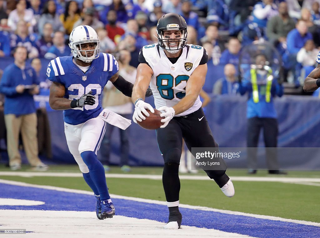 Ben Koyak #83 of the Jacksonville Jaguars catches a touchdown pass durling the game against the Indianapolis Colts at Lucas Oil Stadium on January 1, 2017 in Indianapolis, Indiana.
