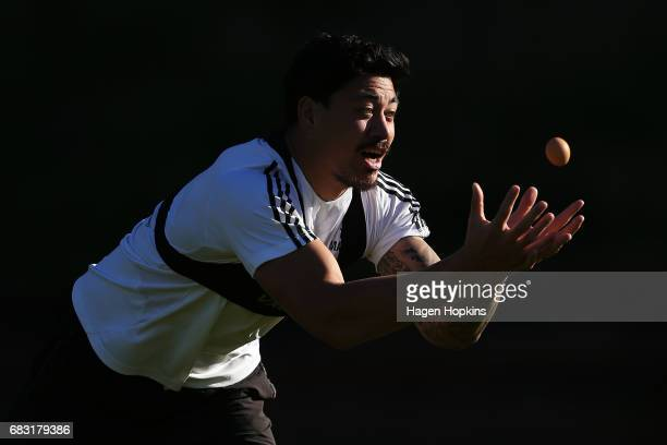 Ben Lam catches an egg in a game during a Hurricanes training session at Rugby League Park on May 15 2017 in Wellington New Zealand