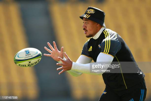 Ben Lam in action during a Hurricanes Super Rugby training session at Westpac Stadium on March 22 2019 in Wellington New Zealand