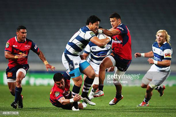 Ben Lam of Auckland charges forward during the ITM Cup Semi Final between Auckland and Tasman at Eden Park on October 16 2015 in Auckland New Zealand