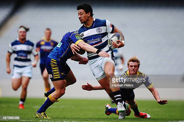 Ben Lam of Auckland makes a break during the round five ITM Cup match between Auckland and Otago at Eden Park on September 13 2015 in Auckland New...