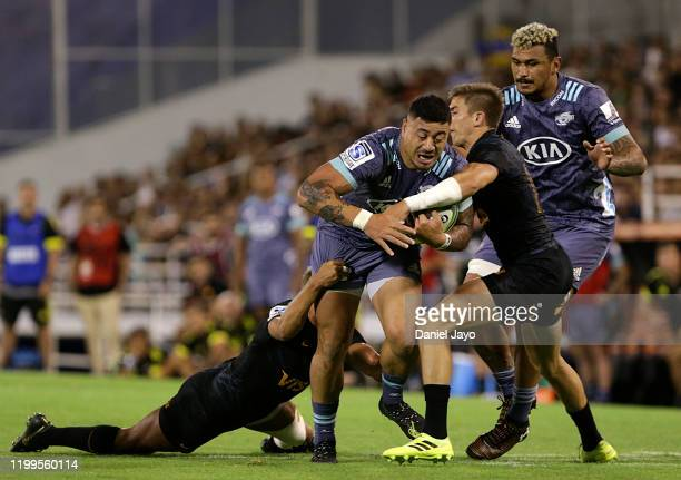Ben Lam of Hurricanes is tackled during a match between Jaguares and Hurricanes as part of Super Rugby 2020 at Jose Amalfitani Stadium on February 8...